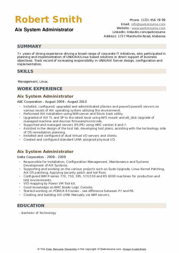 Aix System Administrator Resume example