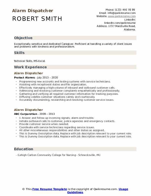 Alarm Dispatcher Resume example