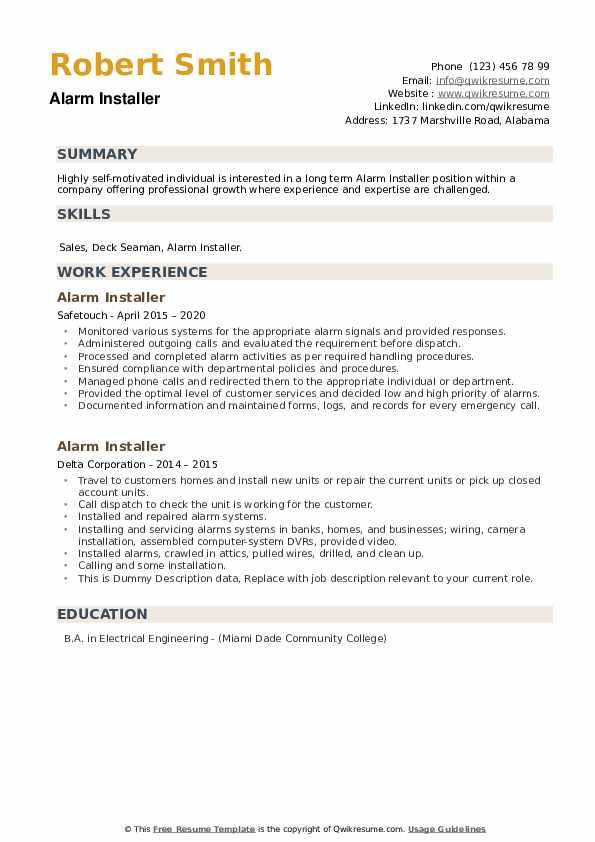 Alarm Installer Resume example