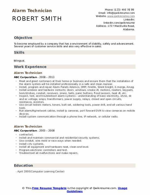 Alarm Technician Resume Example