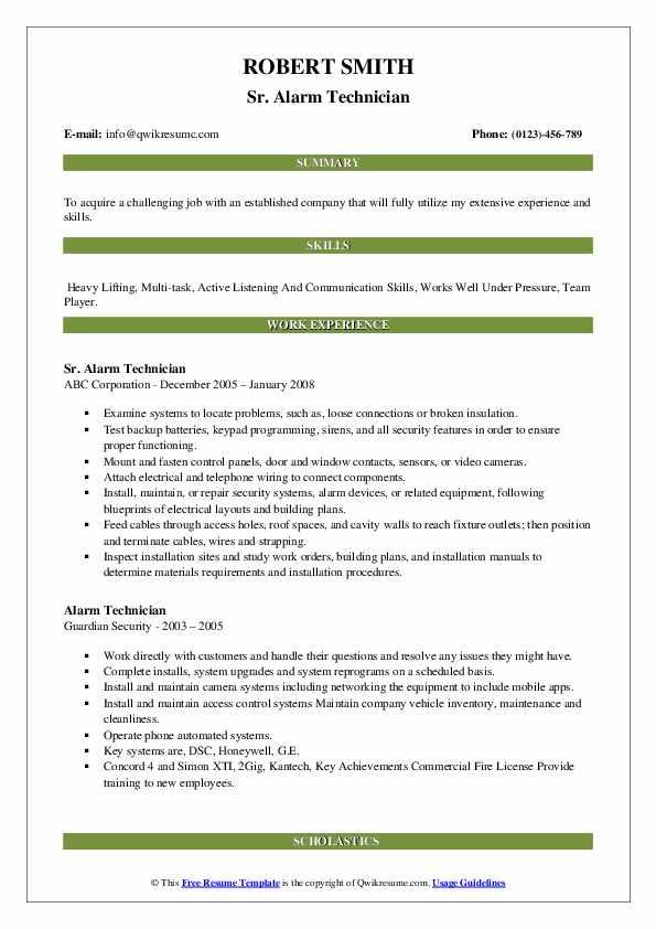 Sr. Alarm Technician Resume Example