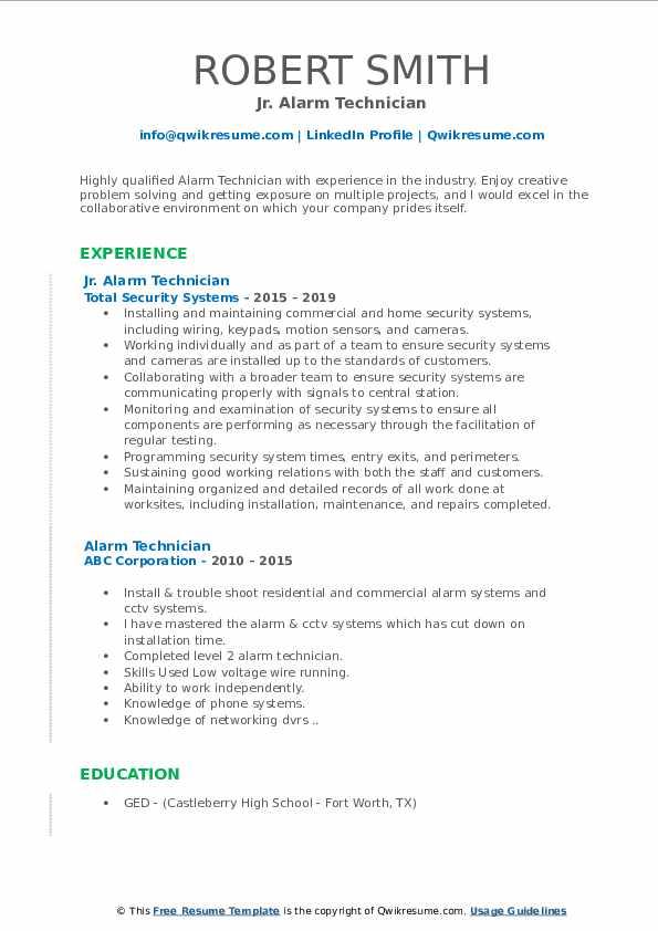 Jr. Alarm Technician Resume Format