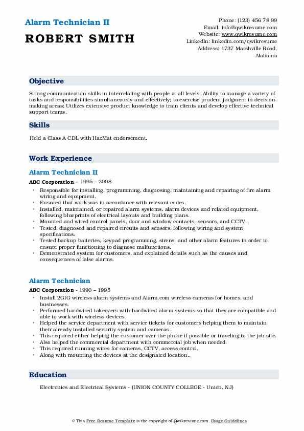 Alarm Technician II Resume Format