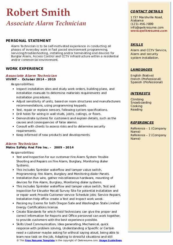 Associate Alarm Technician Resume Format