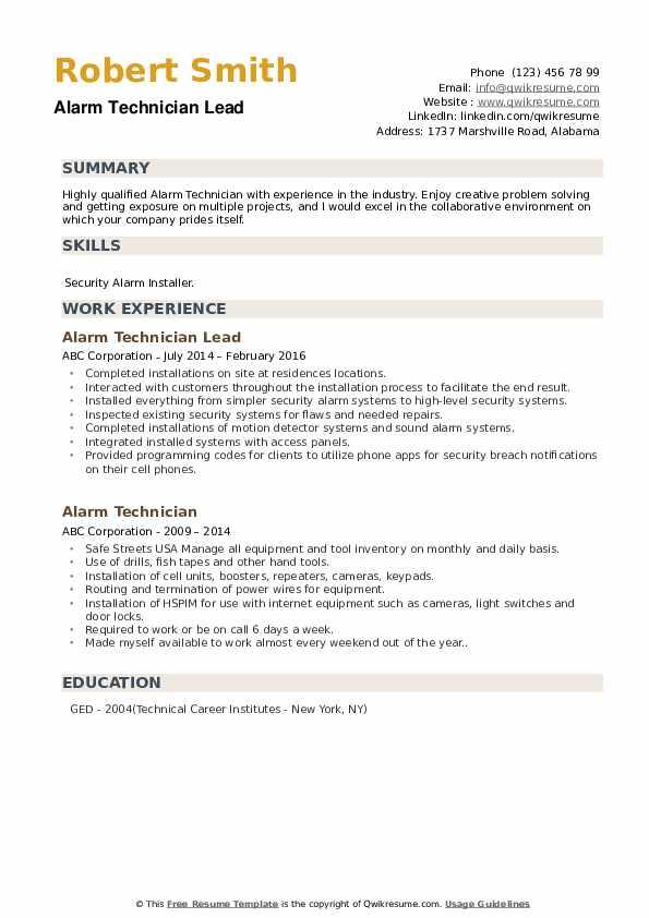 Alarm Technician Lead  Resume Template
