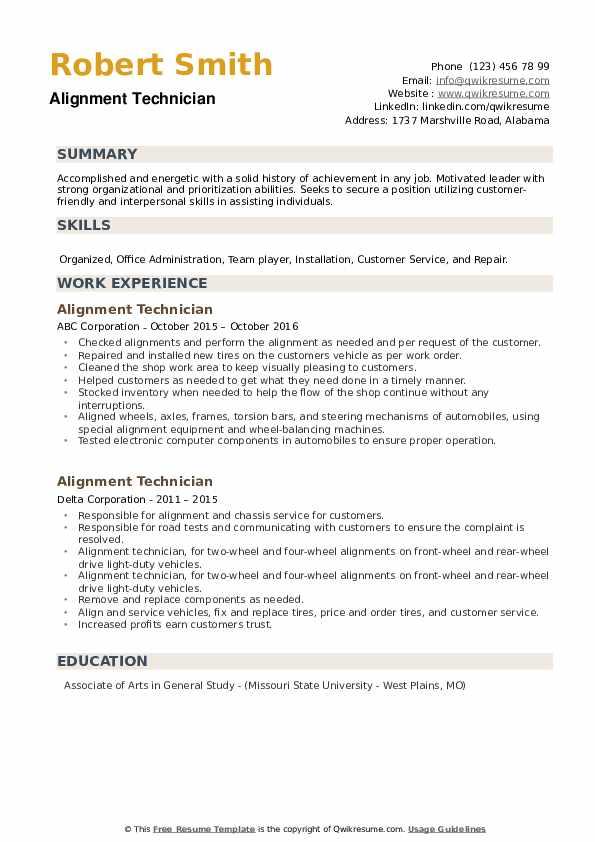 Alignment Technician Resume example