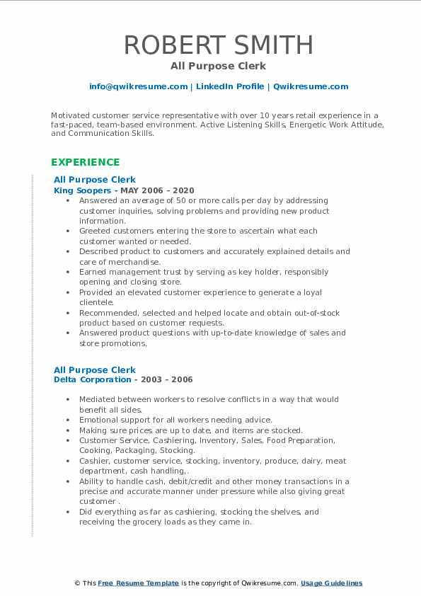 All Purpose Clerk Resume example