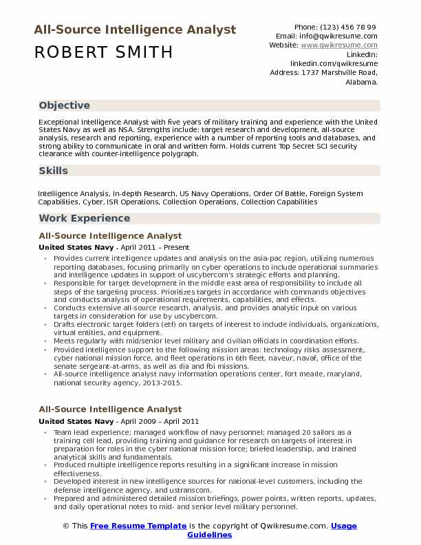 All Source Intelligence Analyst Resume Samples | QwikResume