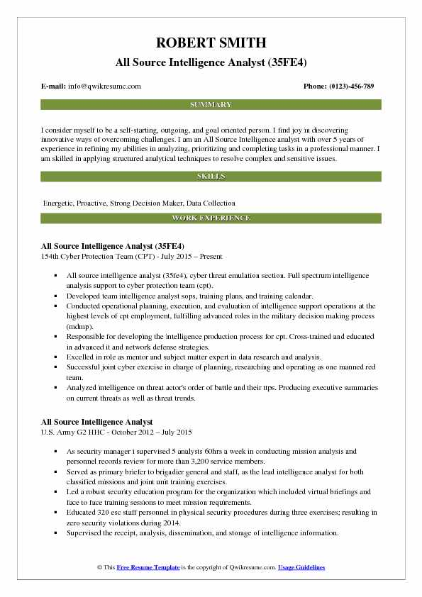All Source Intelligence Analyst (35FE4) Resume Template