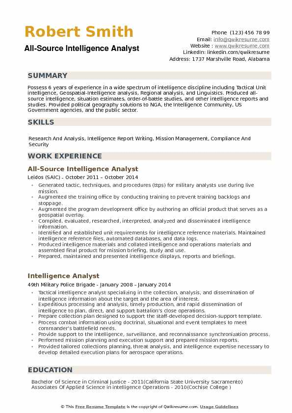 all source intelligence analyst resume example