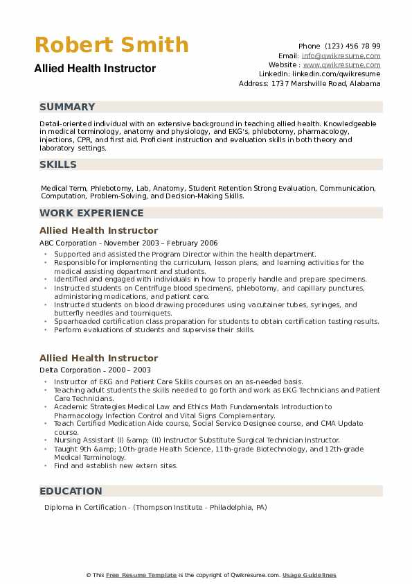 Allied Health Instructor Resume example