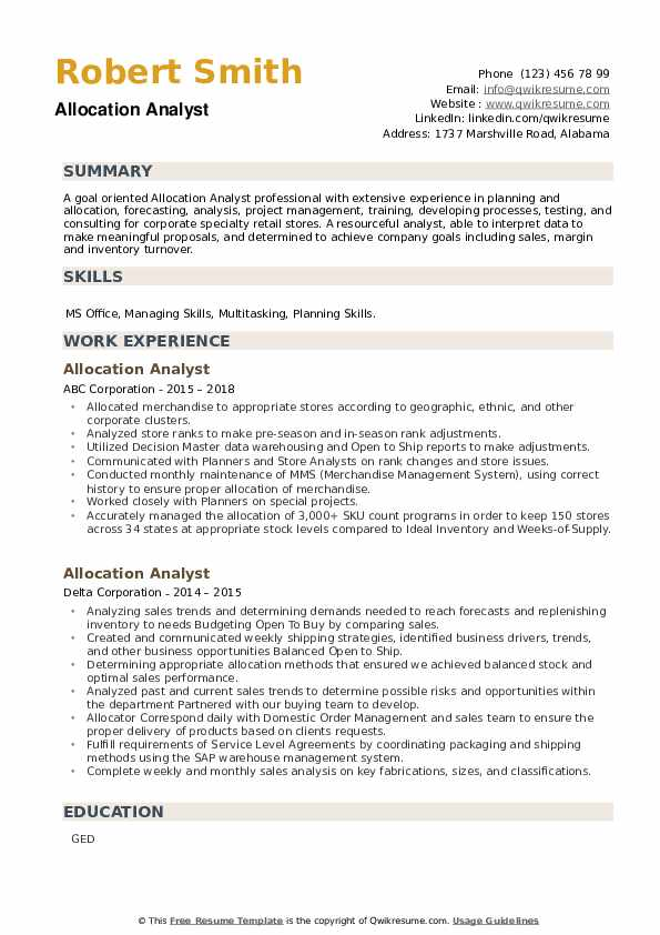 Allocation Analyst Resume example