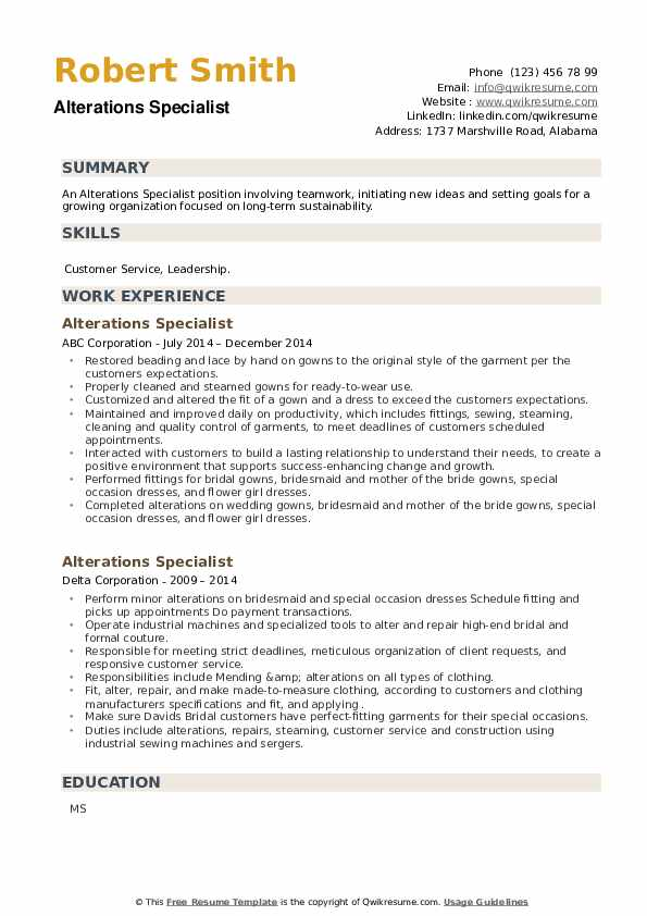 Alterations Specialist Resume example