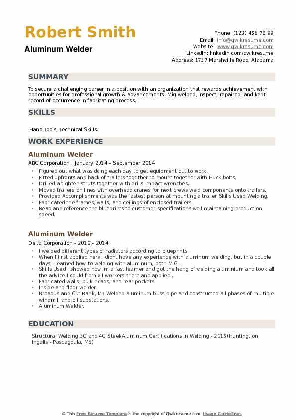 Aluminum Welder Resume example
