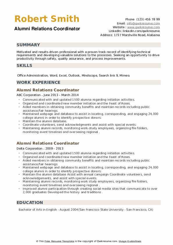 Alumni Relations Coordinator Resume example