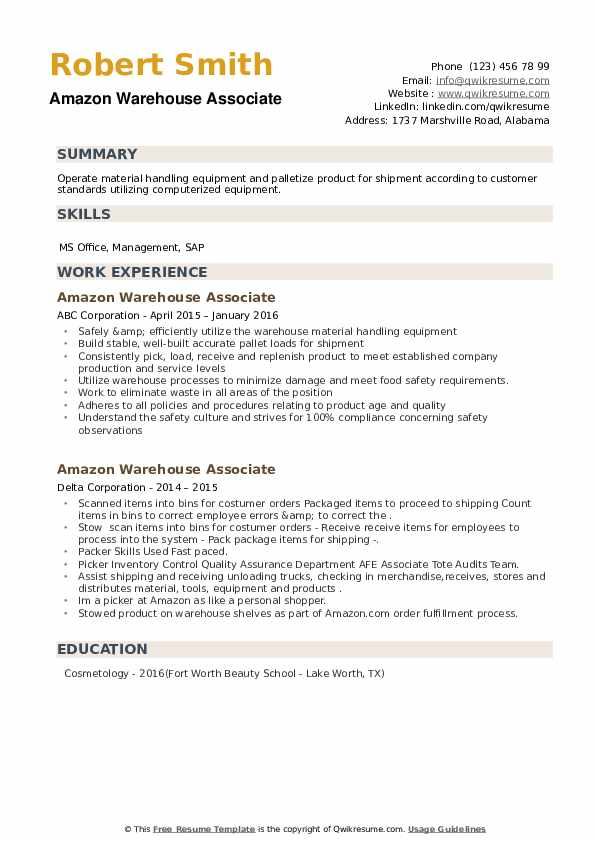 Amazon Warehouse Associate Resume example