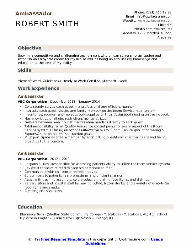 Ambassador Resume Sample