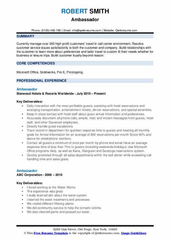 Ambassador Resume Format