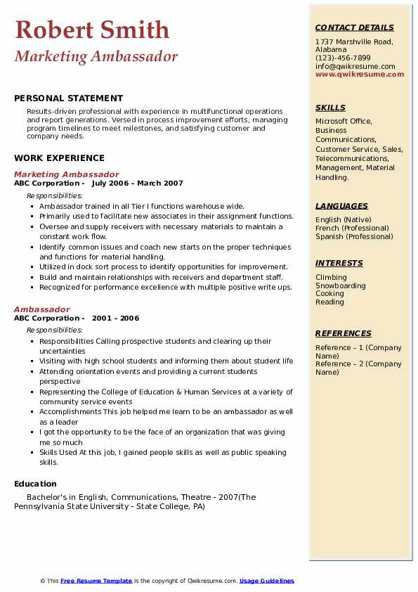 Marketing Ambassador Resume Example