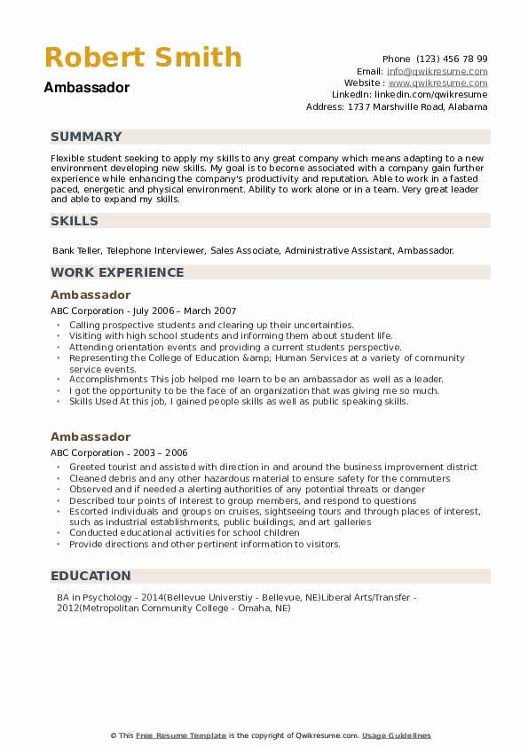 Ambassador Resume example