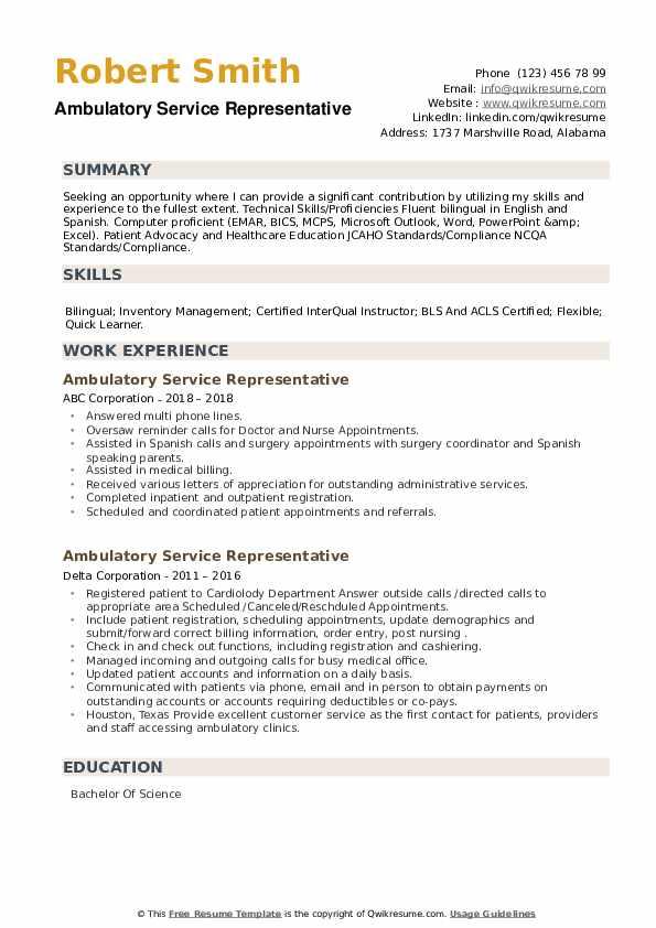 Ambulatory Service Representative Resume example