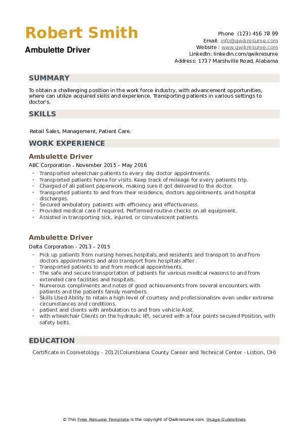 Ambulette Driver Resume example
