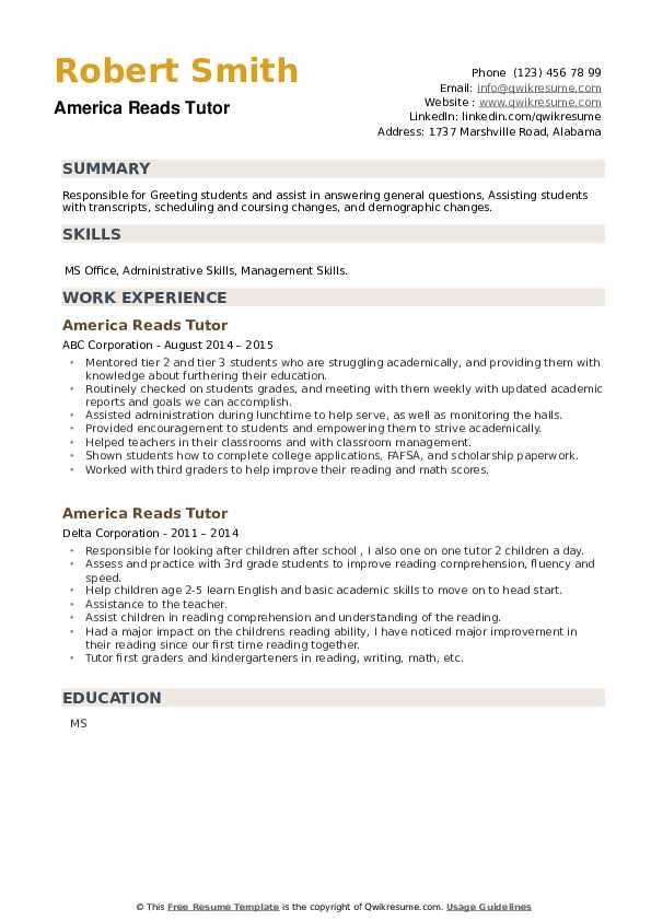 America Reads Tutor Resume example
