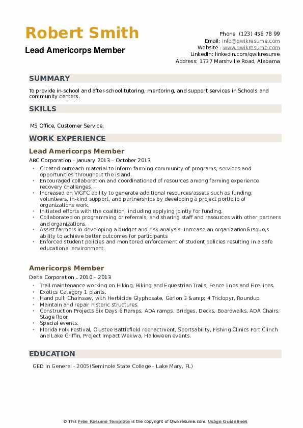 Americorps Member Resume example