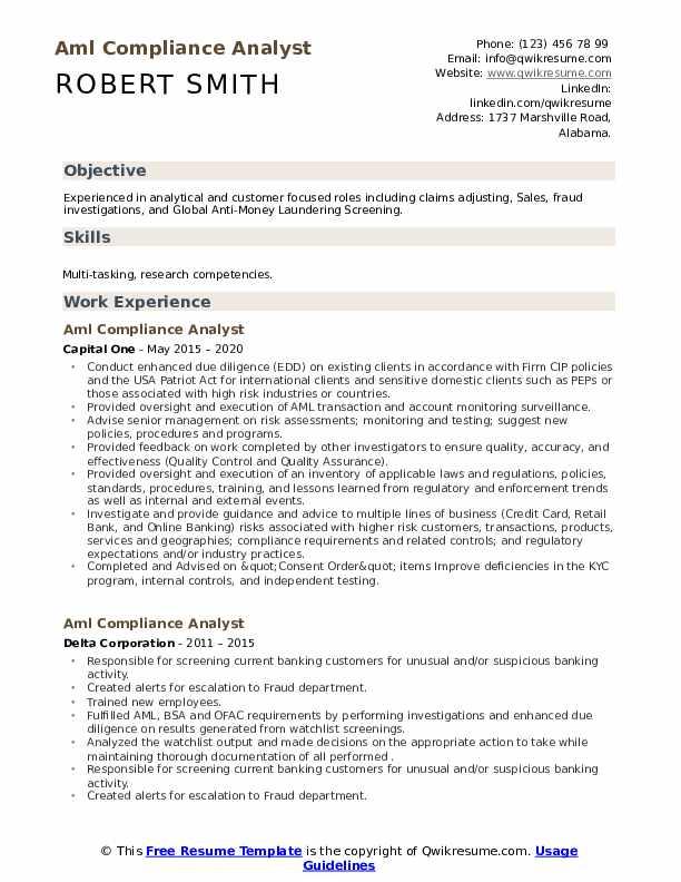AML Pliance Analyst Resume Samples