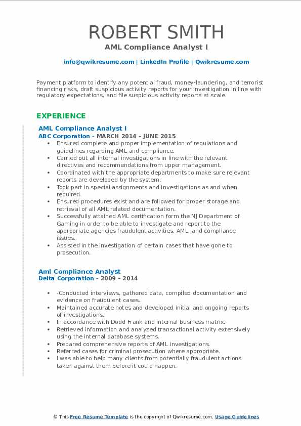 aml compliance analyst resume samples  qwikresume