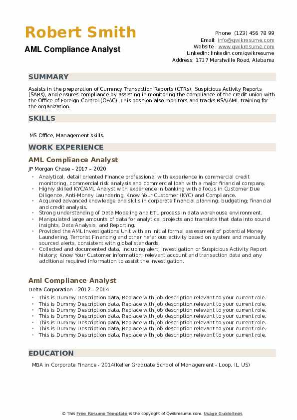 AML Compliance Analyst Resume example