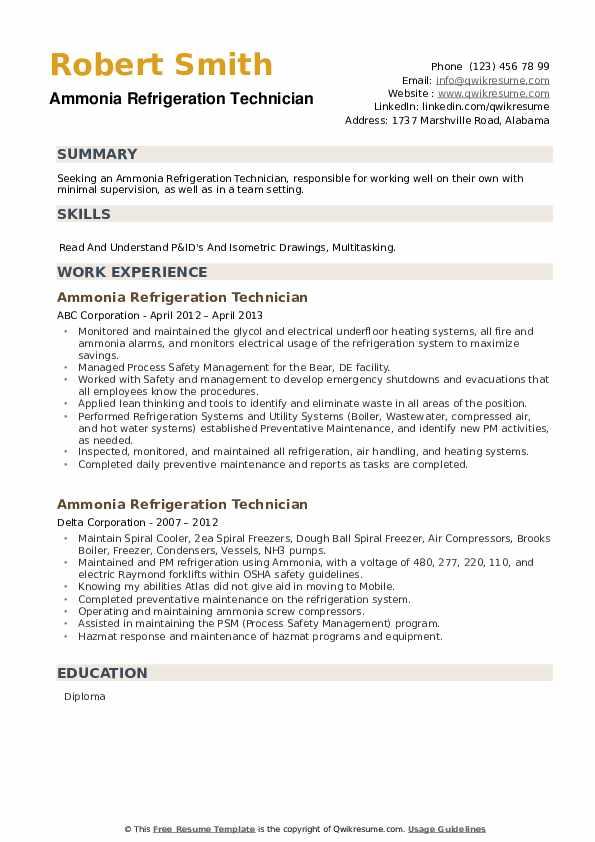 Ammonia Refrigeration Technician Resume example
