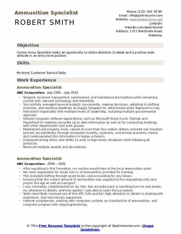 Ammunition Specialist Resume Model