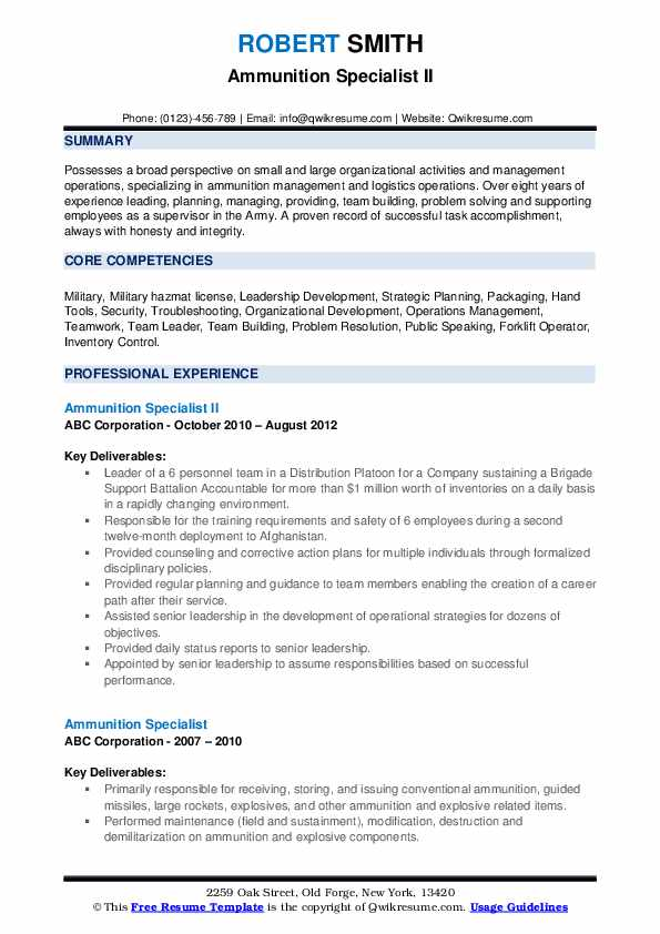 Ammunition Specialist II Resume Sample