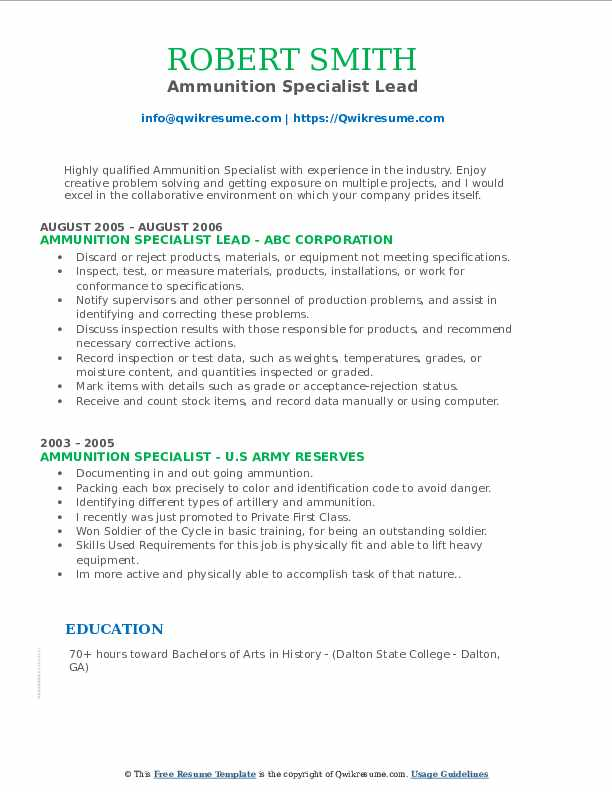 Ammunition Specialist Lead Resume Template