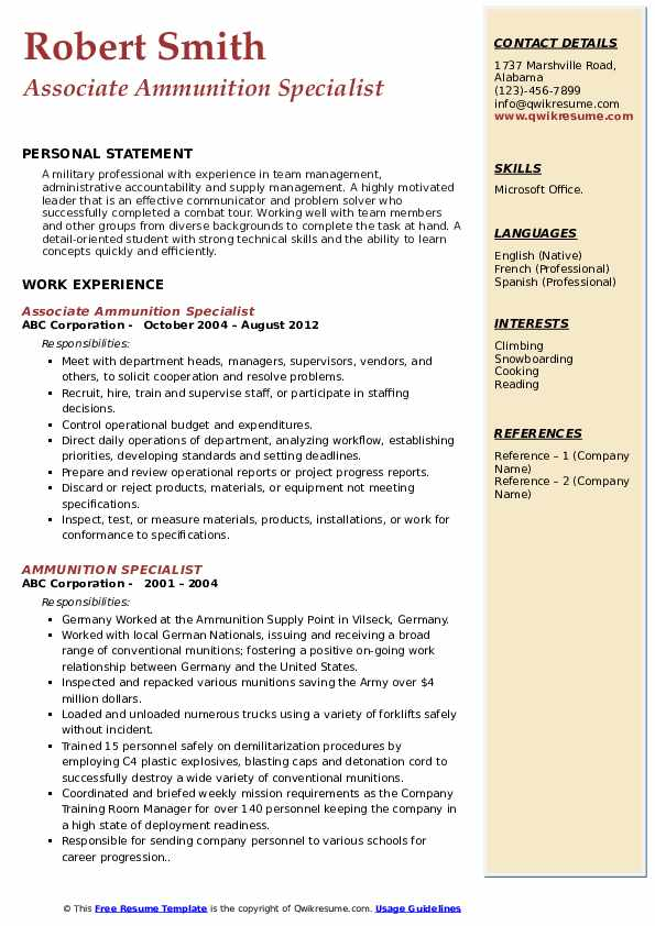 Associate Ammunition Specialist Resume Sample