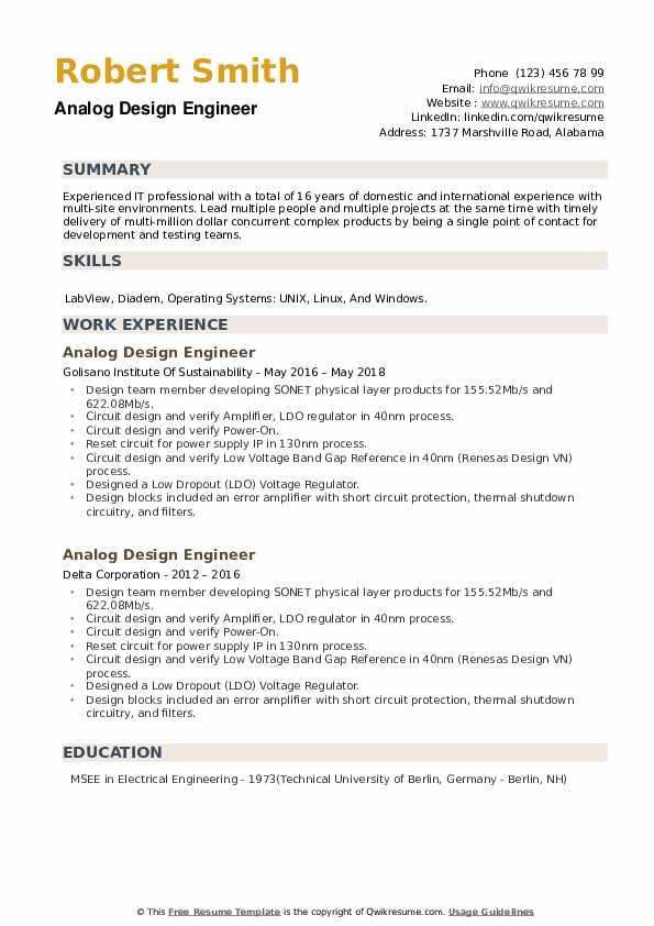Analog Design Engineer Resume example