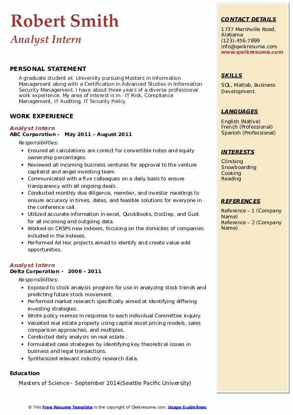 analyst intern resume samples  qwikresume