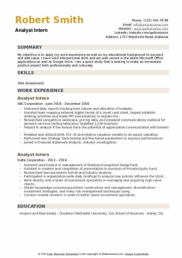Analyst Intern Resume example