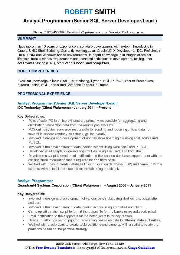 Analyst Programmer (Senior SQL Server Developer/Lead ) Resume Example