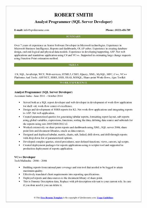 Analyst Programmer (SQL Server Developer) Resume Example