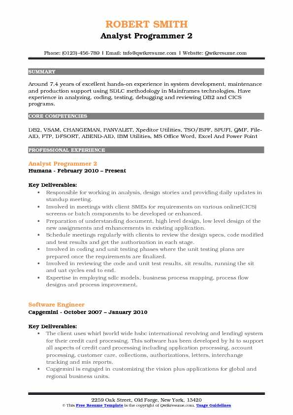 Analyst Programmer 2 Resume Sample