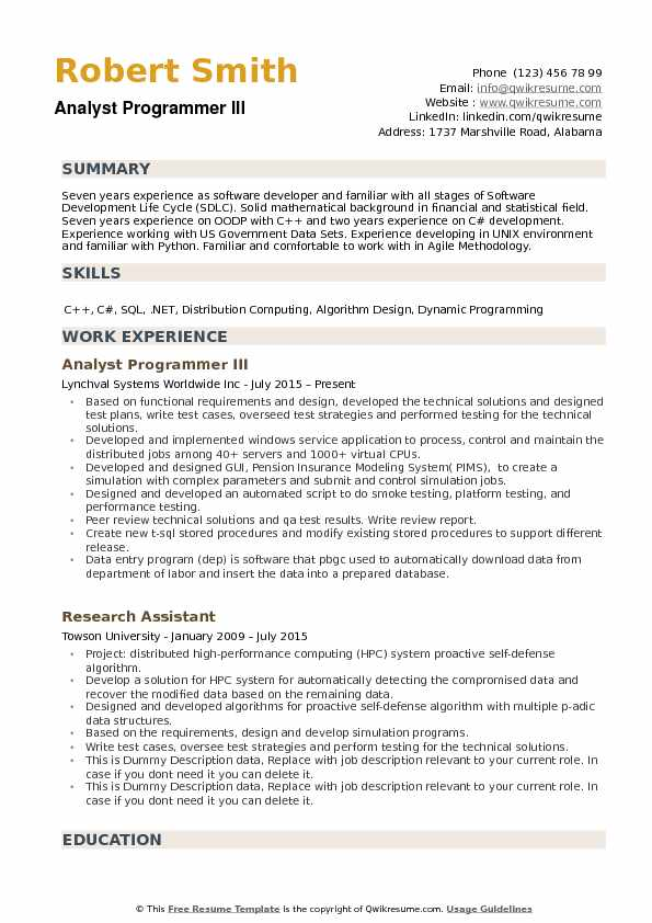 Analyst Programmer III Resume Sample