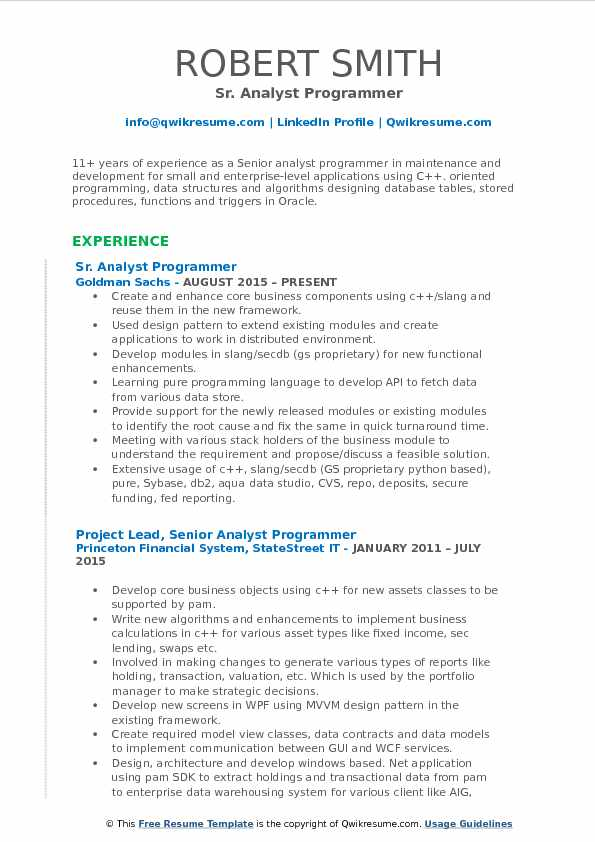 Sr. Analyst Programmer Resume Sample