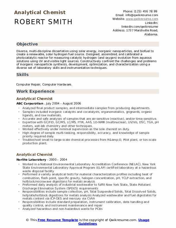 Analytical Chemist Resume Template
