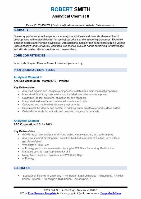 Analytical Chemist II Resume Example