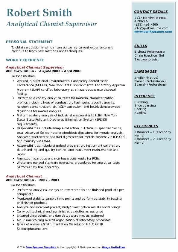 Analytical Chemist Supervisor Resume Sample