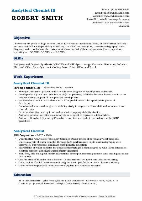 Analytical Chemist III Resume Example