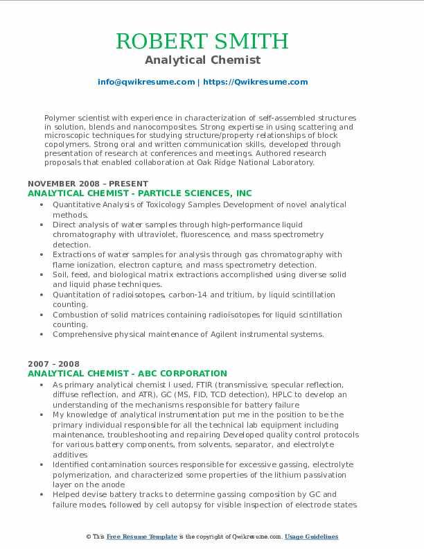 Analytical Chemist Resume Sample