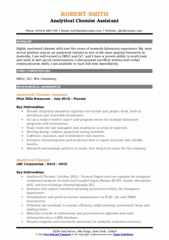 Analytical Chemist Assistant Resume Example